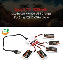 цена на 5pcs XF POWER 3.7V 1200mAh 25C Lipo Battery JST Plug with 6-port USB Charger For Syma X5HC X5HW Drone Quadcopter
