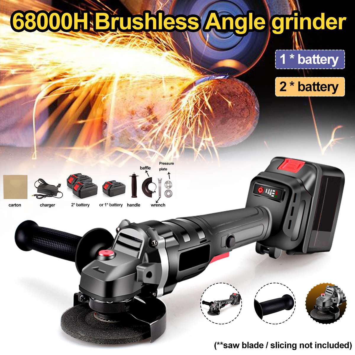 18V Angle Grinder Grinding Machine Electric Grinding Machine Power Tool Grinding Cutting Grinding Metal 68000MAH 2xBattery