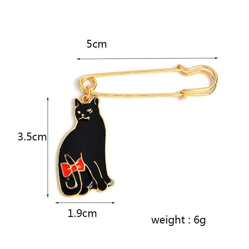 Kucing Lucu Bros Hitam dan Putih Kitty Enamel Pin Merah Busur-Simpul Ekor Kerah Pin Lencana Pakaian Tas Perhiasan hadiah untuk Anak-anak Grosir