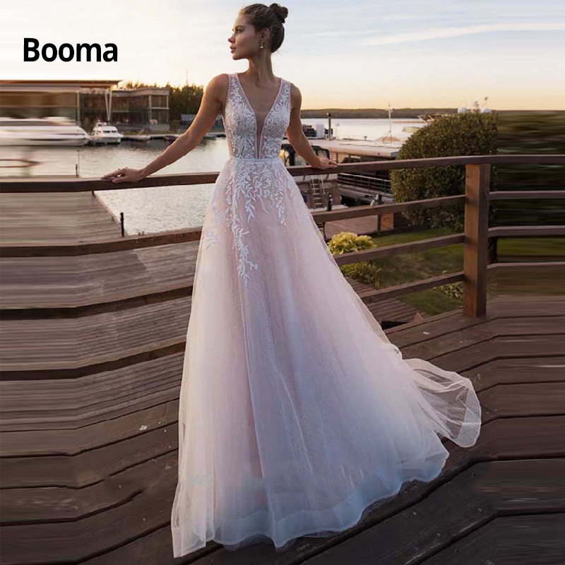 Booma Beach Pink Wedding Dresses Soft Tulle With Lace Appliqued Princess Bridal Gowns V-neck A-line Bride Dress With Trail