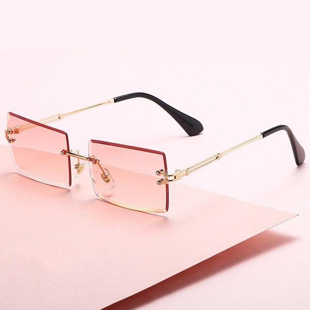 Gafas De Sol cuadradas De color rosa y morado para mujer, anteojos De Sol femeninos Retro De diseñador De marca, lentes rectangulares Vintage, pequeños 2