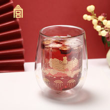 Advanced lotus double layer glass cold and hot drink cup water cup cultural and creative gift creative gift cute glass cup