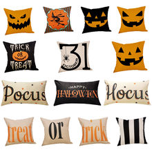 Happy Halloween Cushion Cover Pumpkin Ghosts Pillow Cases Letter Print Linen Sofa Throw Pillow Covers Home Decor 2019#T2(China)