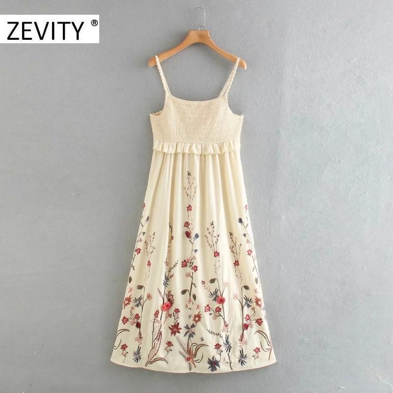 Zevity women vintage flower embroidery elastic ruffles sling midi dress chic female crochet patchwork casual slim dresses DS4389