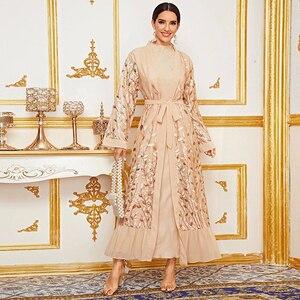 Embroidery Open Abaya Kimono Dubai Muslim Fashion  Dress Turkey Abayas Kaftan Women Caftan Islamic Clothing