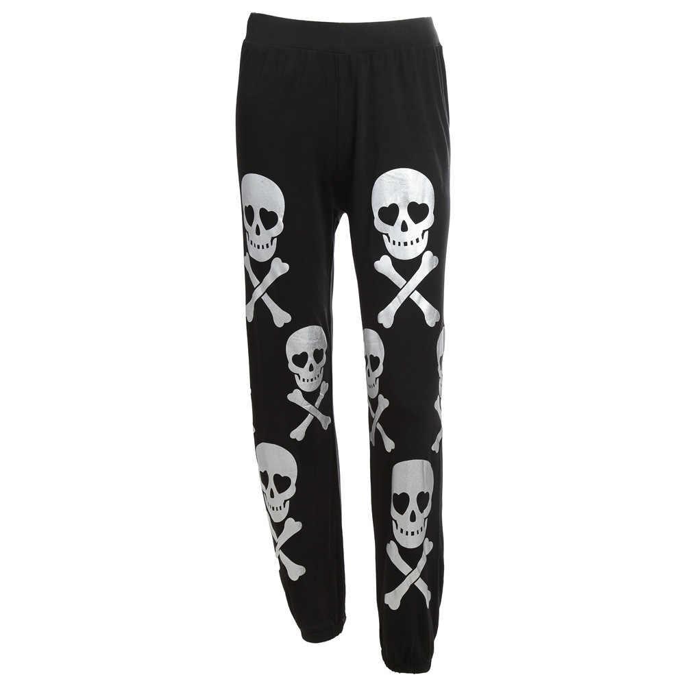 JIEZuoFang Pantalones de mujer Casual negro primavera gótico Streetwear Punk suelto alta cintura calavera estampado Oficina mujer moda nueva