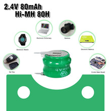2.4V 80H 80mAh Ni-MH Nimh Button Battery Pack Coin Cell Repl