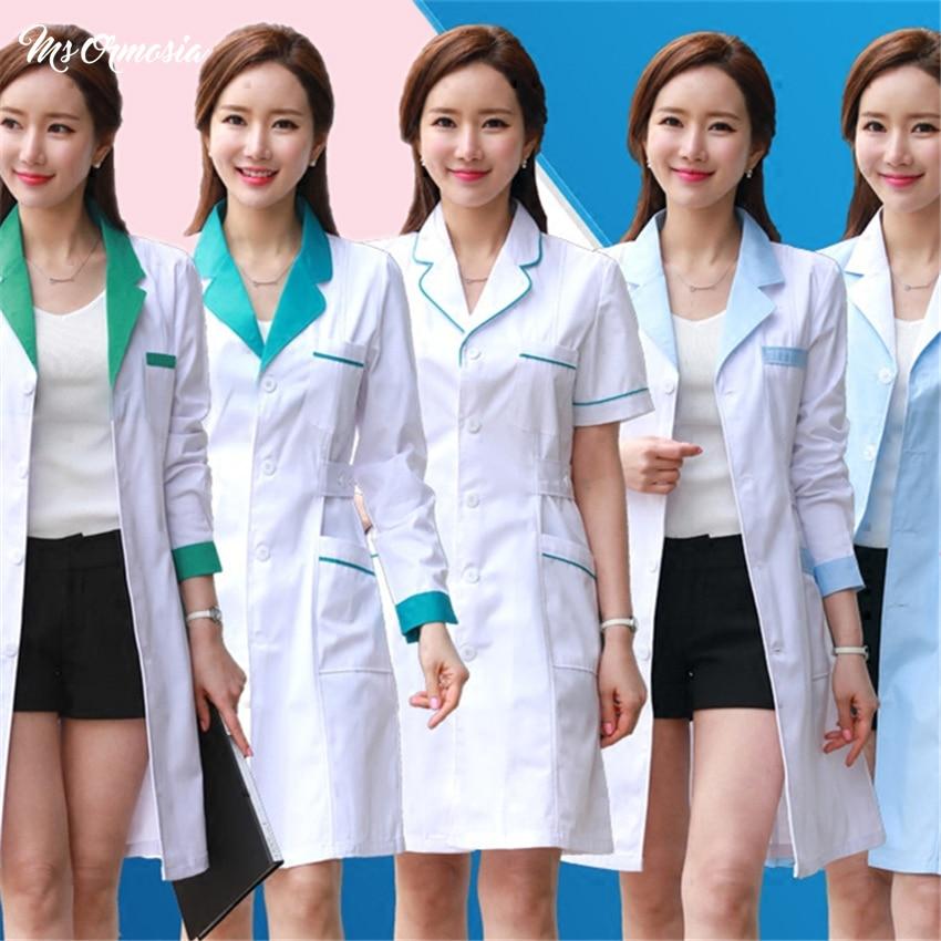 MSORMOSIA Lab Coats Nurse Uniform Women Medical Uniforms Workwear Pharmacy White Coat Doctor Costume Female Hospital Work Wear