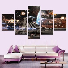 Printed HD Paintings Modular Posters Home Decor Modern 5 Panels Star Wars Movie Spaceship/Sky Wall Art Canvas Picture