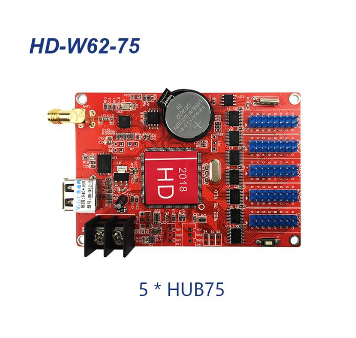 HD-W62-75 Hub75B Ports Small Graphic LED Controller Smart Setting Work For P4 P5 P10 Full Color LED Module