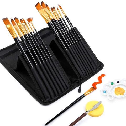 escova de pintura do artista conjunto 18pcs pinceis bonus espatula esponja para acrilico oleo e