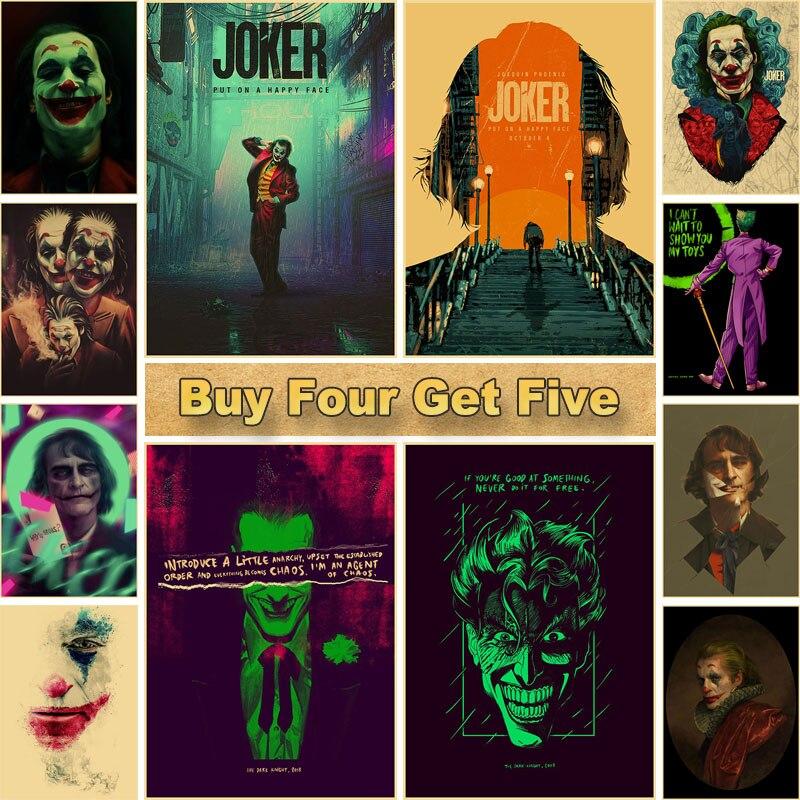 Film Star Joker Wand Kunst Malerei Poster Retro Kraft Papier Poster und Drucke Bilder für Wohnzimmer Bar Cafe Home decor