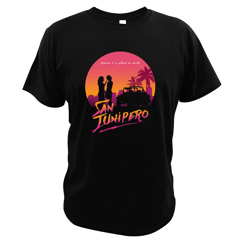 Men Tee San Junipero T Shirts Fantasy TV Series Heaven Is A Place On Earth Songs Tees Black Mirror 100% Cotton EU Size Tops image