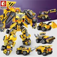 6 in 1 Transformation Robot Building Block City Vehicle Engineering Excavator car truck Racing car Bricks Construction toys