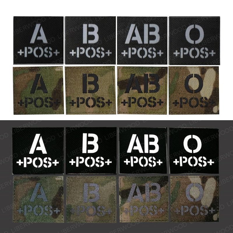 blood type A+ B+ O+ AB+ POS Positive IR patch for backpacks morale tactical patches Reflective luminous  badge with hook loop (4)