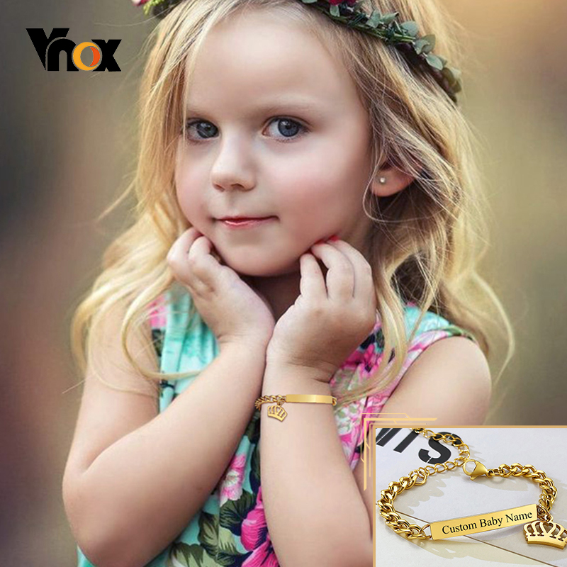 Vnox Custom Personalize Baby Name Bracelet, Anti Allergy Stainless Steel Chain Adjustable, Infant Baptism Gifts to Girls Boys