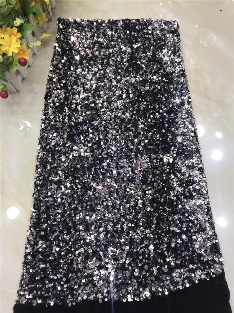 Factory offers High Quality 2019latest African Velvet lace sequince lace fabric for Chrismas party Long Dresses WInn688n