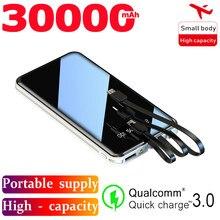 Banco de energia móvel 30000mah tela cheia 3usb portátil emergência ao ar livre carregamento rápido bateria externa para samsung xiaomi iphone