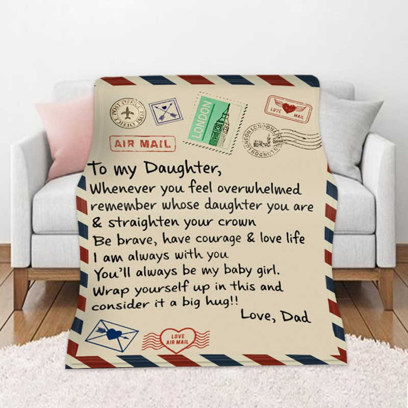 CALIDAKA Letter Blanket to My Daughter Letter Printed Quilts Dad Mom for Daughters Air Mail Blanket Soft Flannel Blanket for Baby Girls Retro Stamp Air Mail Blanket for Girls Xmas Gift