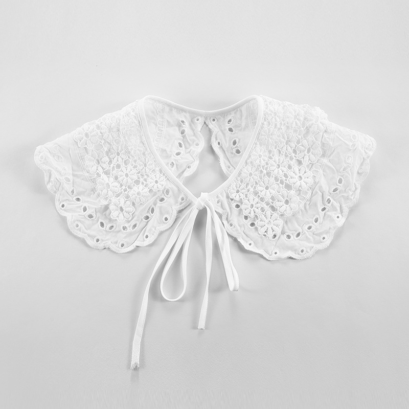 Women Girls Lace Fake False Collar Sweater Decorative Floral Embroidery Detachable Collars Female Blouse Dress Shawl