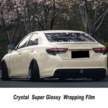 Highest quality Glossy wrapping film Ivory vinyl wrap folie With Bubble Free Vehicle Wrapping low initial tack adhesive image