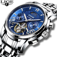Montre Homme 2019 LIGE Mens Watches Top Luxury Brand Fashion Tourbillon Automatic Mechanical Watch Men Waterproof Skeleton Clock(China)