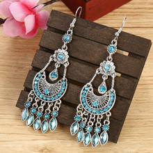 Vintage Ethnic Earrings For Women 2020 Bohemian Antique Silver  Alloy Hollow Out Rhinestones Tassel Dangle Earrings bohemian rainbow colors feather tassel earrings 2019 ethnic vintage hollow out beads dangle earrings for women indian jewelry