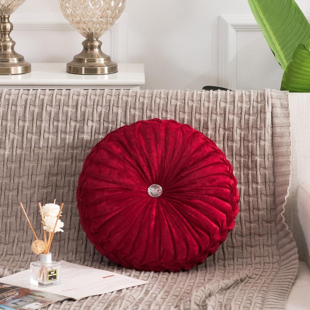 Hca3e229f349442b48fa40fa61d0bb252O European Pastoral Style Pumpkin Round Seat Cushion/Back Cushion or as Sofa pillow Velvet Fabric 35x35cm 9 Colors