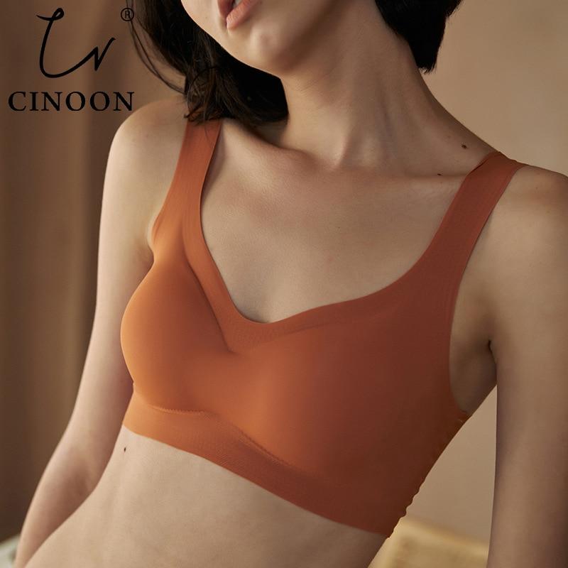 Тонкий бюстгальтер пуш-ап CINOON, шелковое бесшовное белье, мягкий удобный топ для сна с подкладкой на груди, Бюстгальтеры размера плюс для женщин