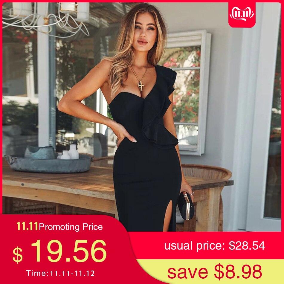 Seamyla, сексуальное Бандажное платье для женщин, новинка 2019, одежда для клуба, с оборками, на одно плечо, черные платья, бодикон, платье знаменит