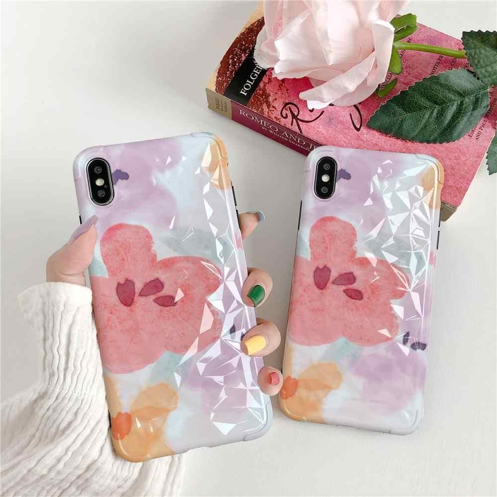 Mới Đơn Giản Dễ Thương Chống Rơi Họa Tiết Kim Cương Hoa Nhỏ Dành Cho iPhone 6 6S 7 7 Plus 8 8Plus iPhone X XR Max Bao Da Ốp Lưng Điện Thoại