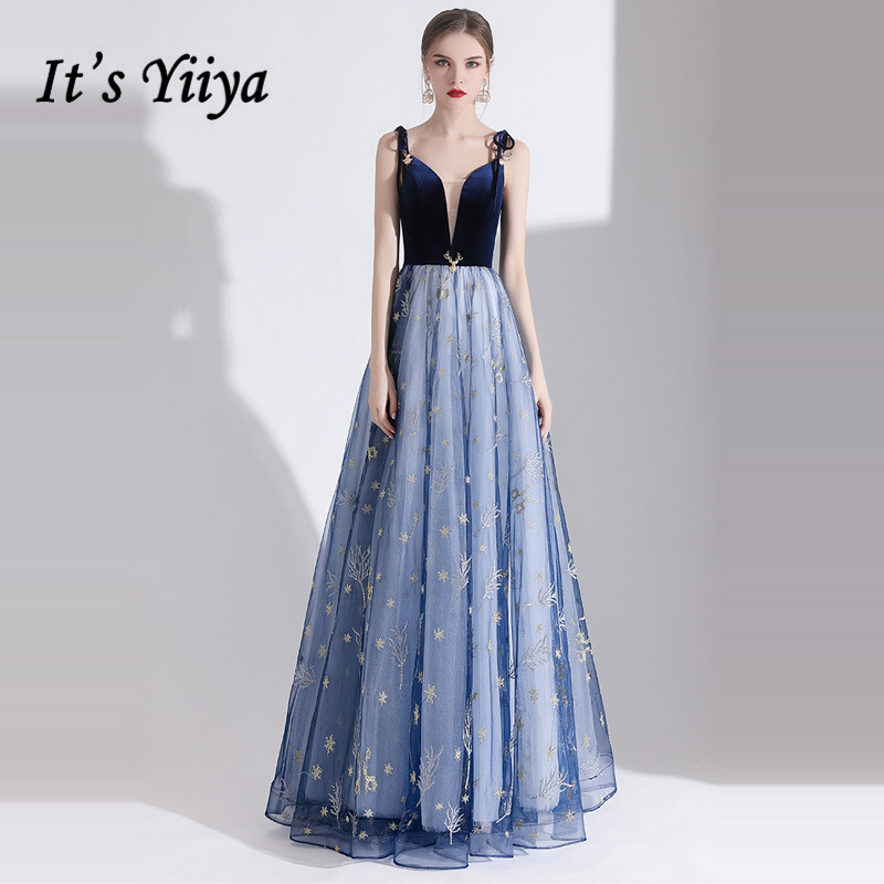 It's Yiiya Evening Dress Elegant Stars Pattern Spahetti Strap Formal Gowns Navy Blue V-neck Long Party Robe De Soiree E1316