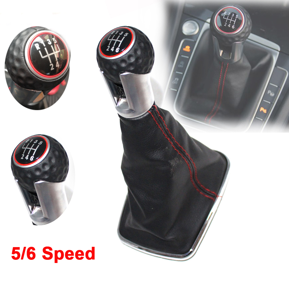 5/<font><b>6</b></font> speed Car Gear Shift Knob with Chrome Frame Black Leather Red Thread Red Ring Cap For <font><b>VW</b></font> <font><b>Golf</b></font> 7 A7 MK7 VII GTI <font><b>GTD</b></font> 2013-2018 image
