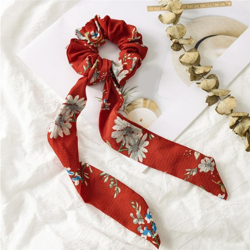 Bohème grande fleur chouchous longs banderoles arc cheveux écharpe femmes filles doux cheveux corde cravates mode cheveux accessoires chapeaux 21