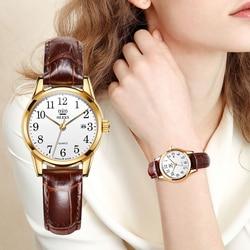 OLEVS Новейшие женские часы водонепроницаемые наручные часы для женщин повседневные женские часы кварцевые кожаные модные и повседневные кр...
