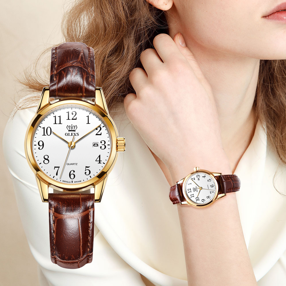 OLEVS Womens Watches Top Brand Fashion Casual Luxury Dress Genuine Brown Leather Waterproof Wristwatch For Lady 5566