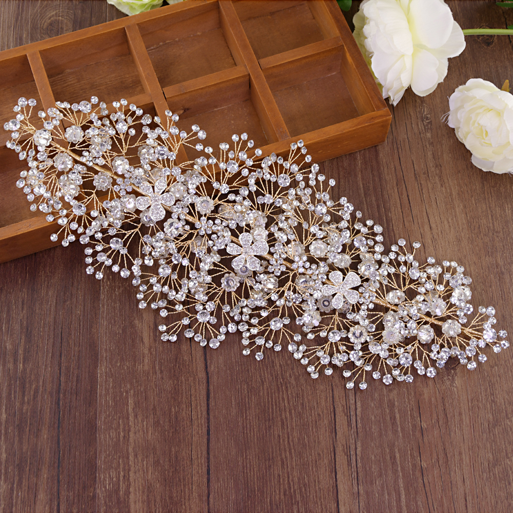 TRiXY H240-G Golden Bridal Crown Large Crystal Bridal Hair Tiara Wedding Headband Bridal Headpiece Luxury Bridal Hair Accessory