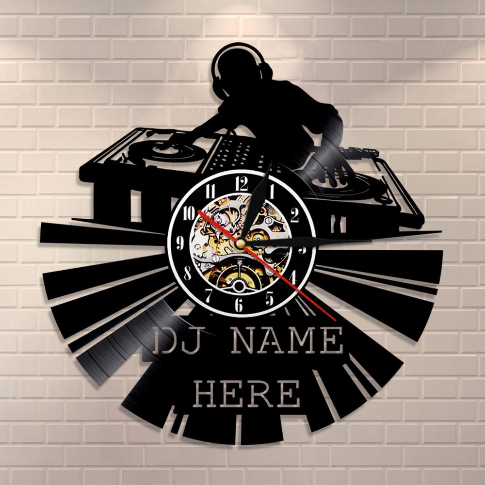 Reloj de vinilo DJ para grabar, reloj de pared moderno personalizado, nombre personalizado de DJ en el reloj, arte de pared de DJ, reloj Vintage, regalo para amantes de la música Reloj de pared silencioso con posición de amor sexual juego de despedida de soltera Kama Sutra 3D DIY reloj para habitación de adultos decoración de acrílico reloj grande
