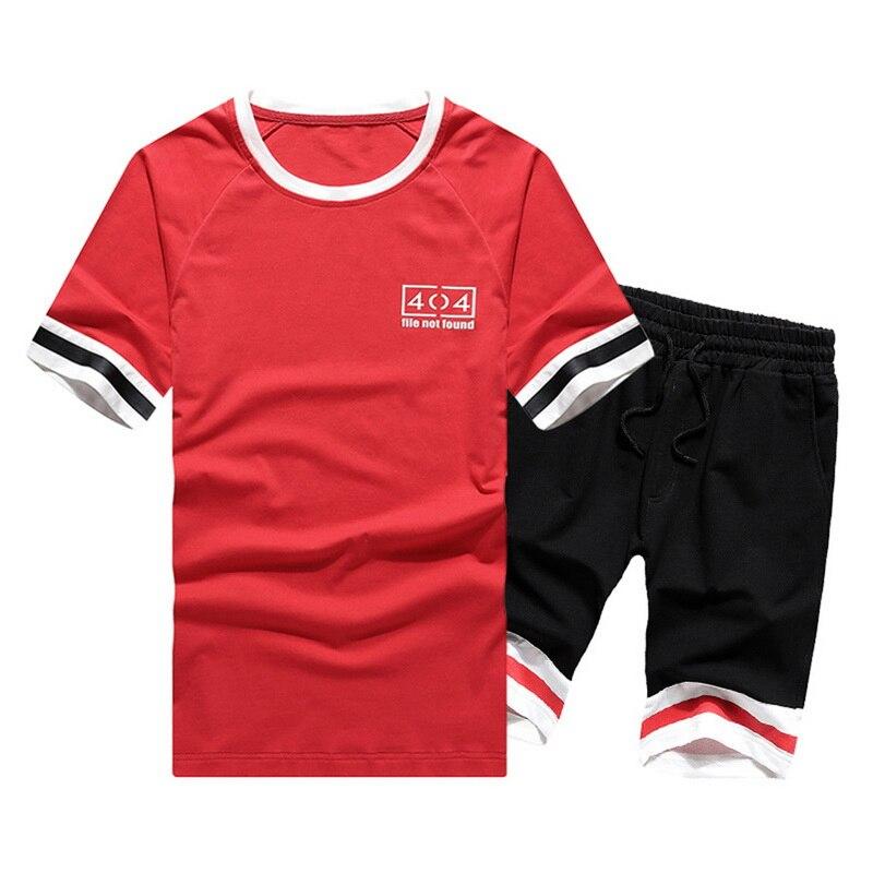 2020 Men Casual Set Summer Short Sleeve T Shirt And Loose Shorts Tracksuit Sets Fashion 2 Pcs Striped Letter Sportwear Gymwear