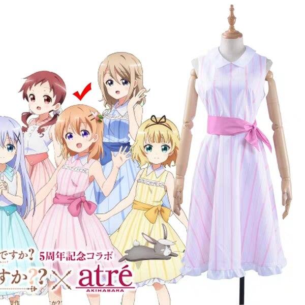 Anime Gochuumon wa Usagi Desuka Kokoa Hoto Cosplay disfraz mujeres sin mangas luz Rosa rayas vestidos hecho a medida