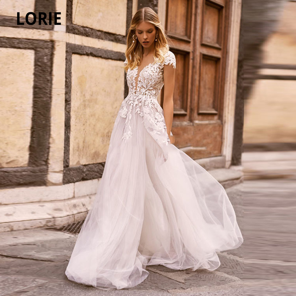 LORIE Boho Wedding Dress Appliques Lace Cap Sleeves A-Line Tulle Open Back Beach Wedding Gowns 2020 Bride Dresses Custom Made