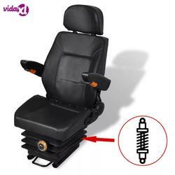 VidaXL tractor seat met schorsing Rugleuning aanpassing tractor seat met opvouwbare hoofdsteun en armsteun flexibele installatie