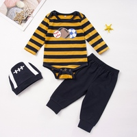 0 24M Autumn Baby Boy Girl Long Sleeve Cartoon Print Romper Tops Trousers Hat Outfits Clothes