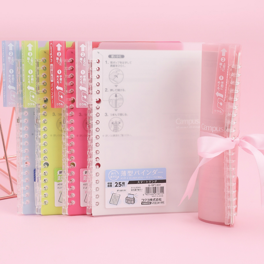 KOKUYO Thin Smart Ring Binder Note A5 B5 Campus Smartring Loose Leaf Notebook Portable SP700 Easy To Replace
