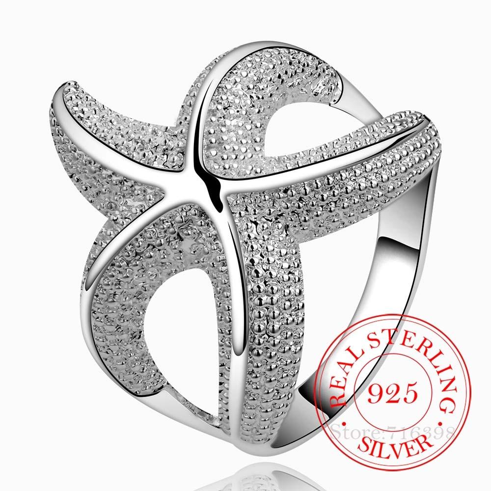 Fafaz – Bague en Argent Sterling 925 pour hommes et femmes, jolie Bague en forme détoile de mer, cristal infini, 925