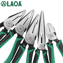 1pcs LAOA CR MO Combination Pliers Long Nose Plier Fishing Pliers Wire Cutter Stripping American Type Tools For Electrician