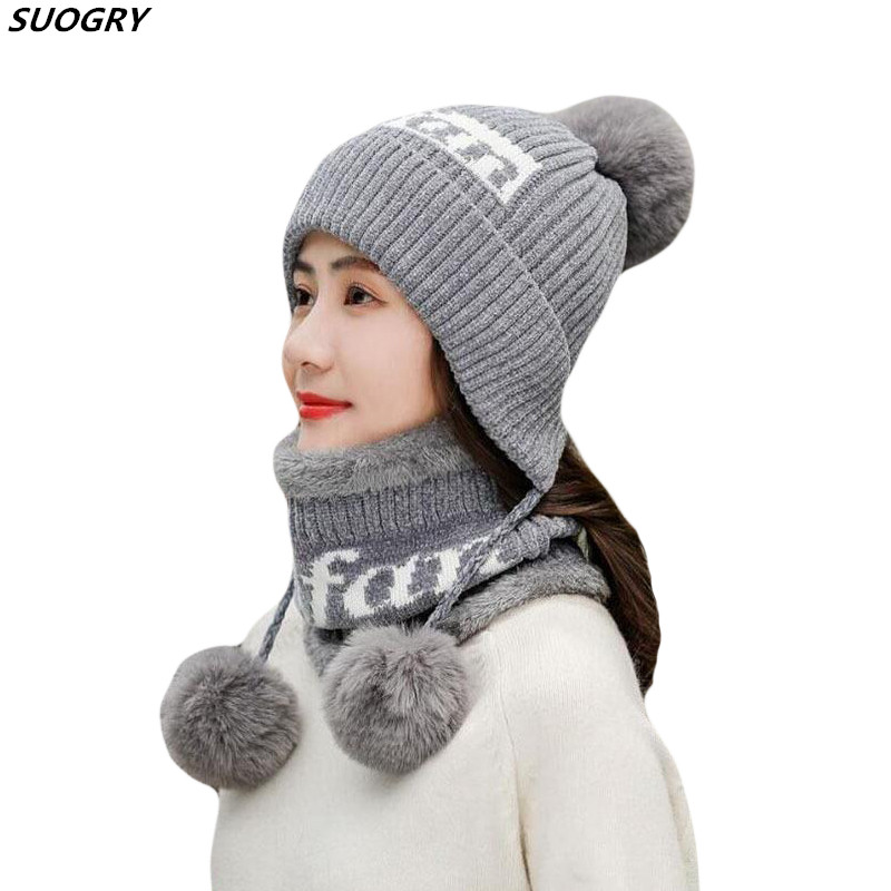 SUOGRY Fashion Chenille Women Winter Hat With Three Balls Lady Cute Handmade Ear Muff Warm Knitted Hats Beanie