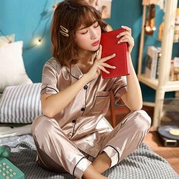 Satin Silk Sexy Women Pajamas Set Sleepwear Lace Cotton Nightwear Soft Homewear Nightgown