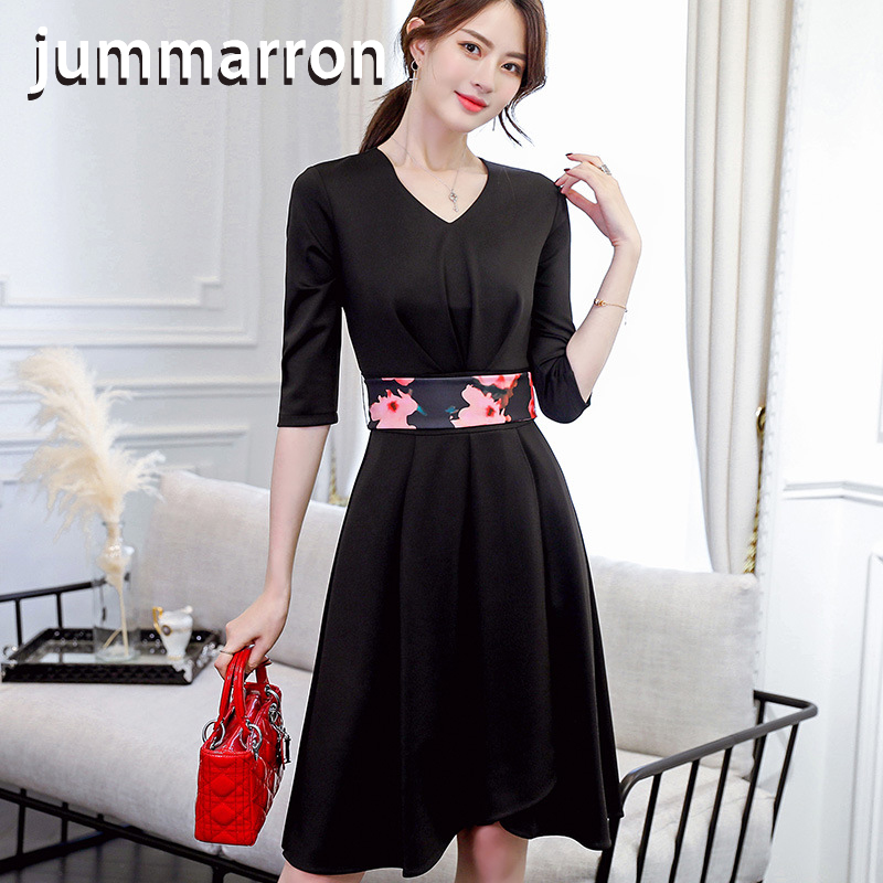 Jummarron 2020 summer spring women <font><b>dress</b></font> black <font><b>dress</b></font> office lady elegant fashion v-neck half-sleeve red <font><b>dresses</b></font> female clothes image