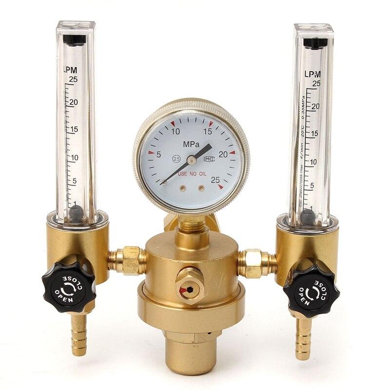 New Argon CO2 Gauge Pressure Regulator Mig Tig Flow Meter Control Valve Welding Gas Double Tube Bubble Counter Aquarium Flowmete